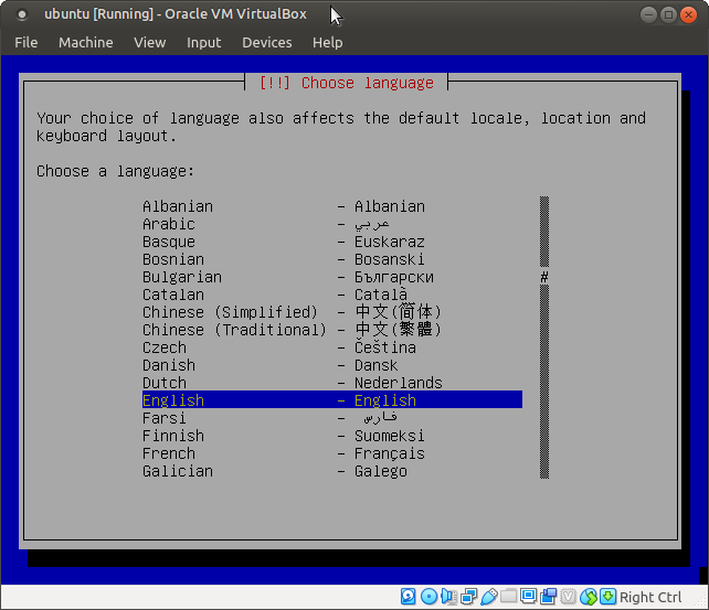 Ubuntu 4.10, Warty Warthog, setup choose langauge