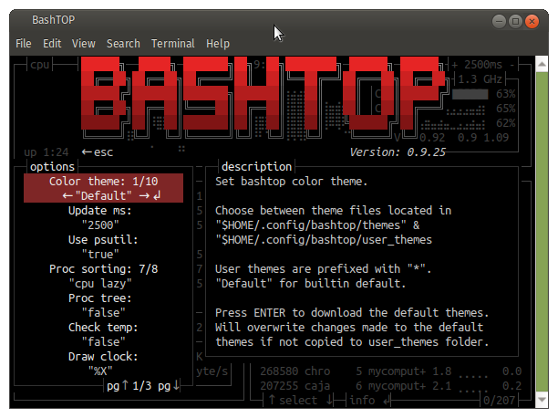 bashtop change settings